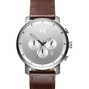 MVMT 45mm Chrono Silver Brown Leather Band Watch